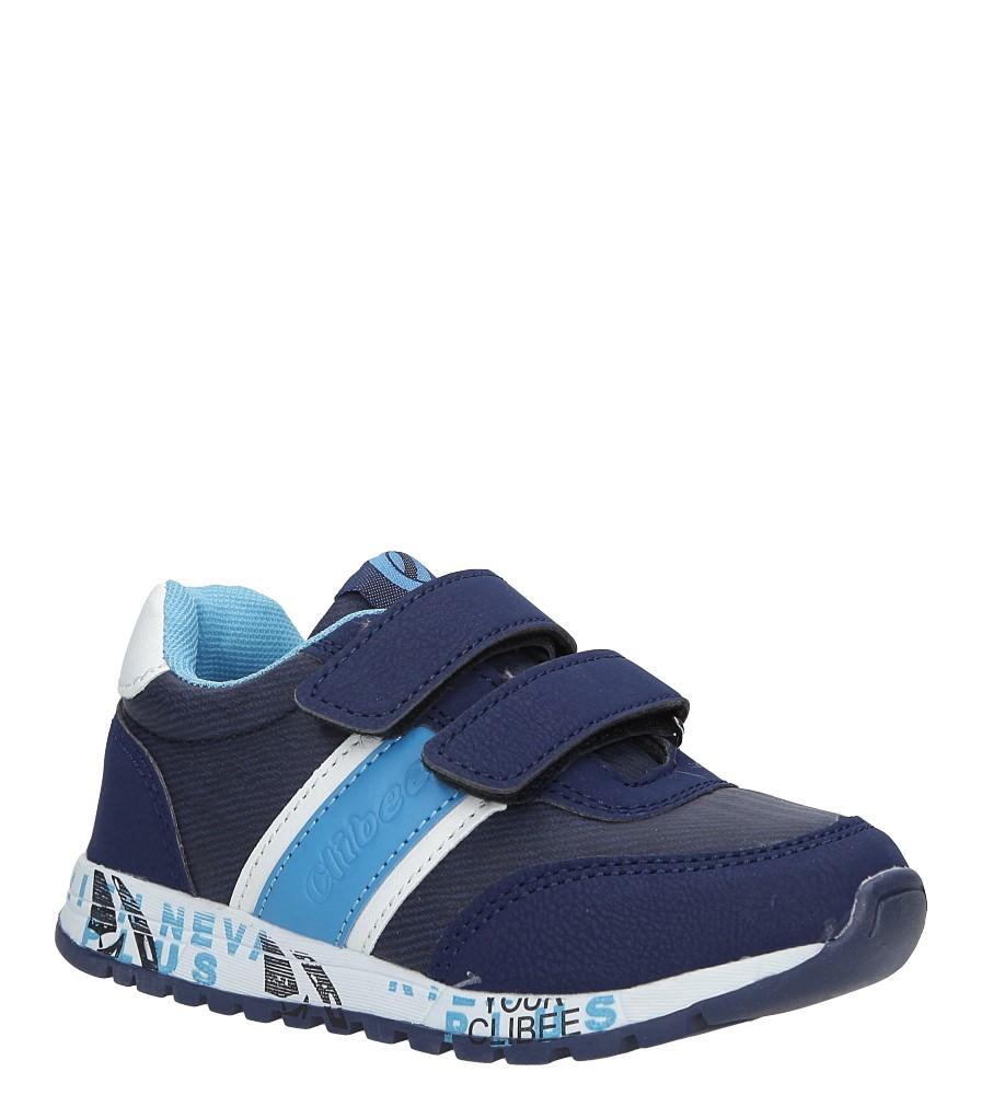 Granatowe buty sportowe na rzepy ze skórzaną wkładką Casu K-221 producent Casu