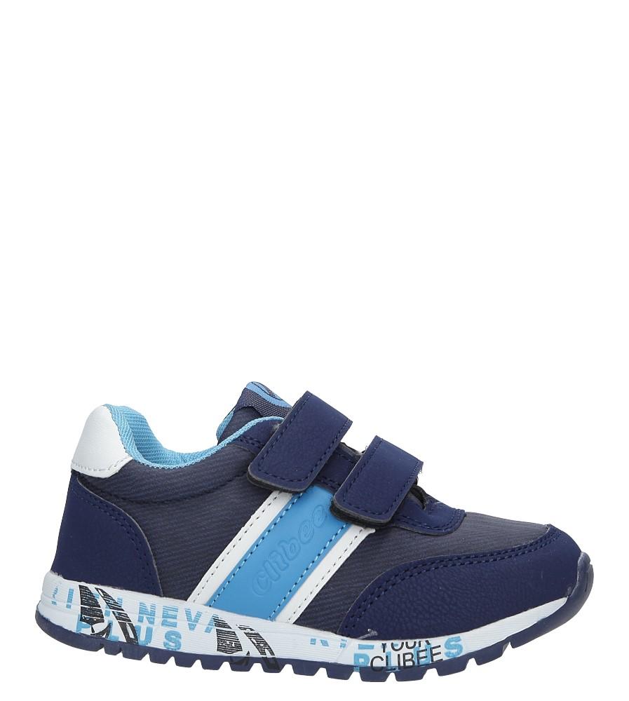 Granatowe buty sportowe na rzepy ze skórzaną wkładką Casu K-221