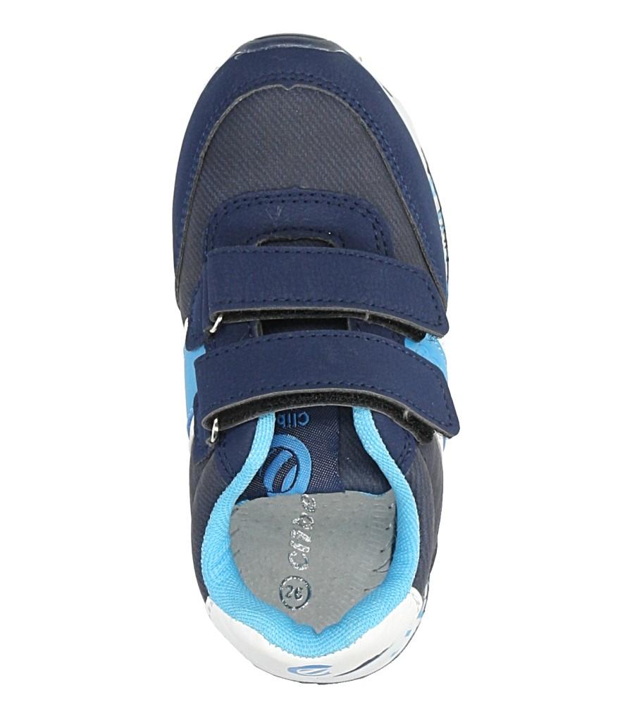 Granatowe buty sportowe na rzepy ze skórzaną wkładką Casu K-221 kolor granatowy