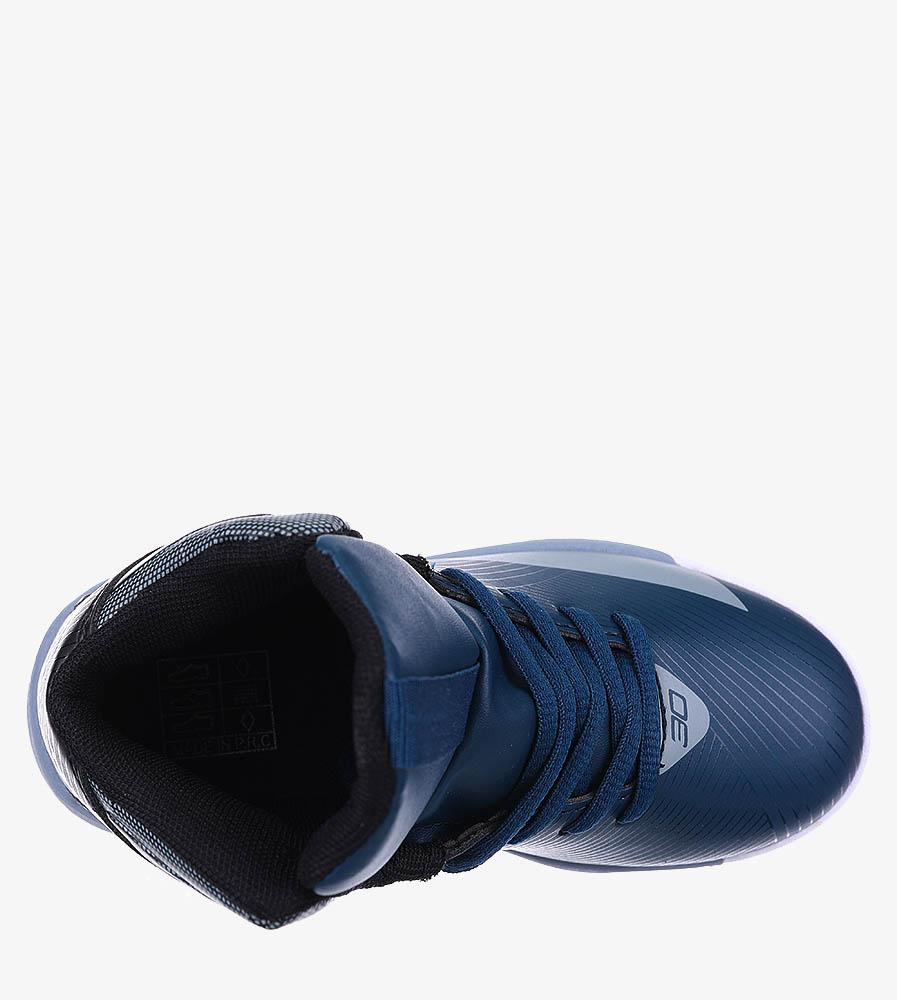 Granatowe buty sportowe sznurowane Casu 201A/BG wkladka materiał