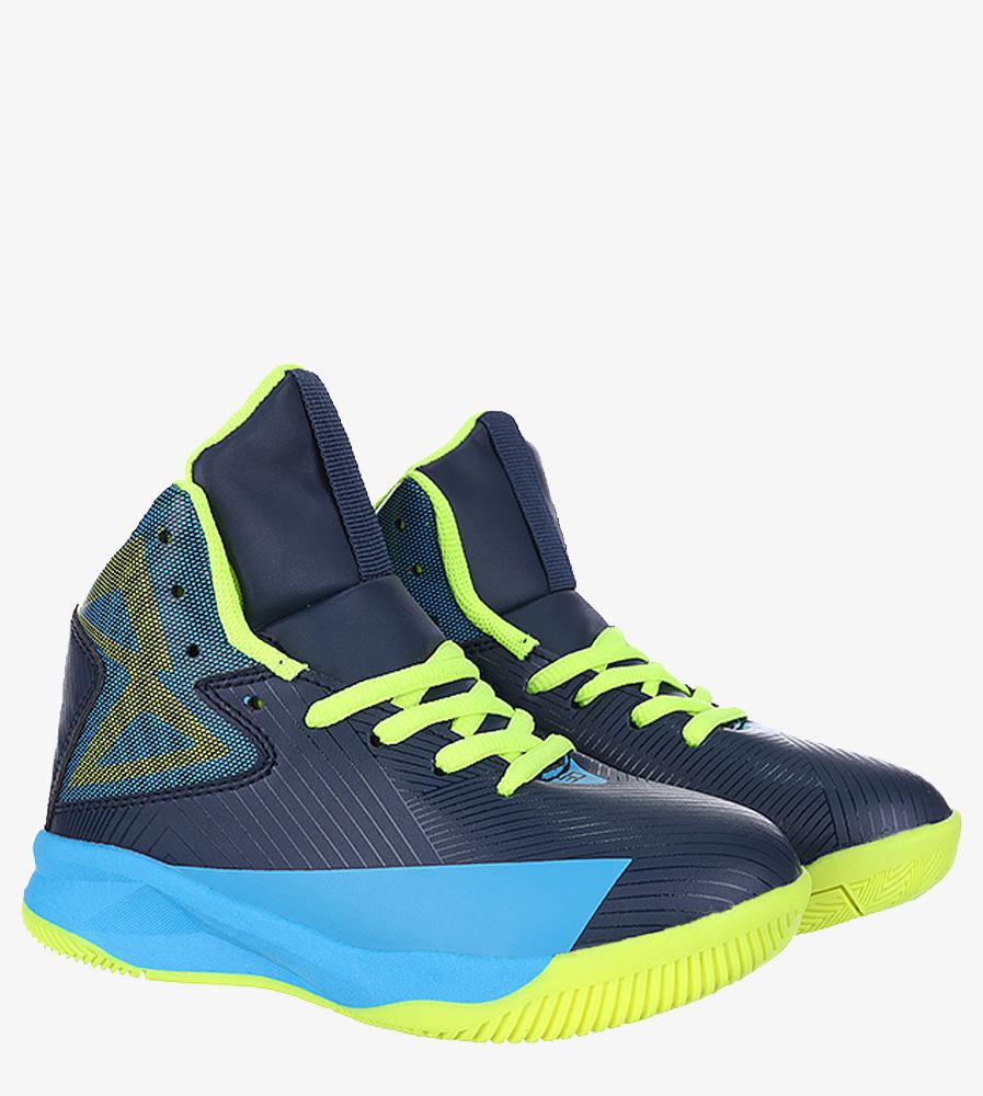 Granatowe buty sportowe sznurowane Casu 201A/BY kolor granatowy, żółty