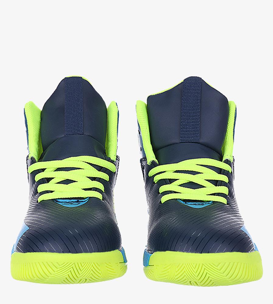 Granatowe buty sportowe sznurowane Casu 201A/BY wierzch skóra ekologiczna