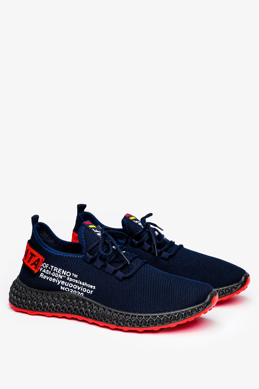 Granatowe buty sportowe sznurowane Casu JX-35
