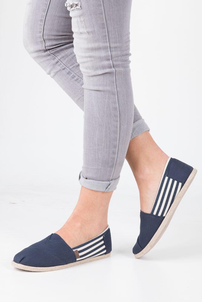 Granatowe buty tomsy espadryle w paski Mckey DTN173/17NV
