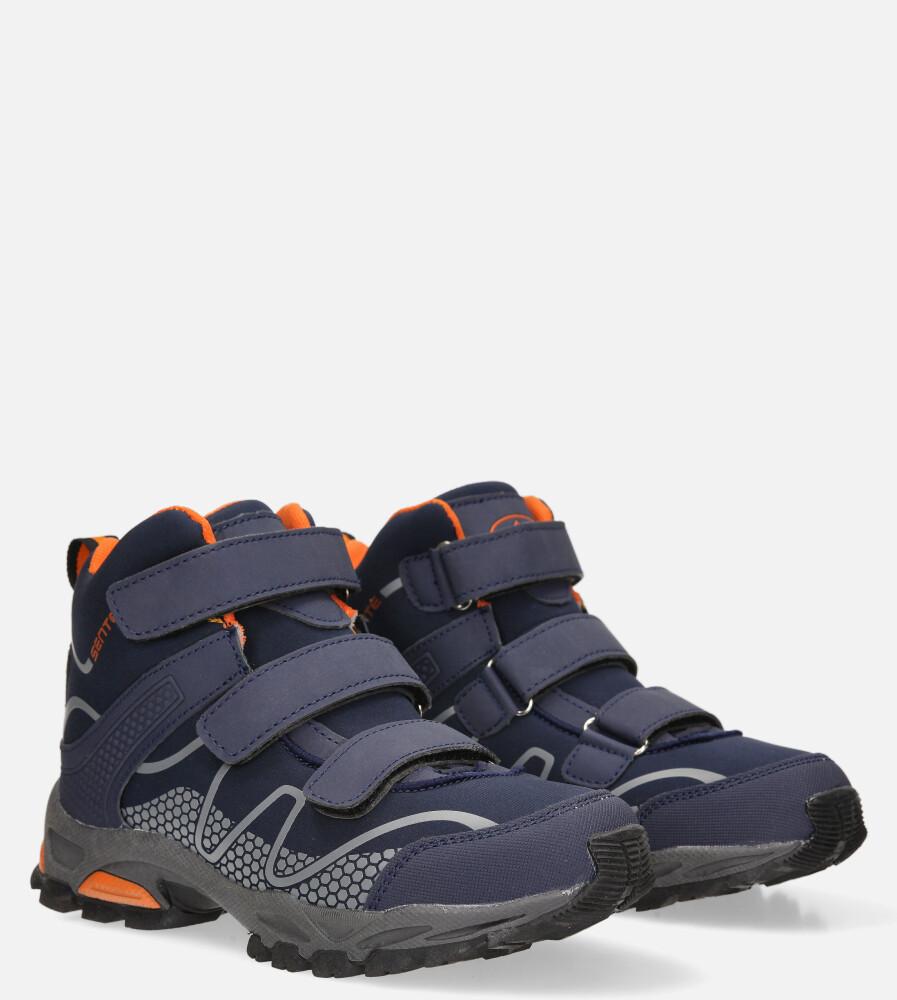 Granatowe buty trekkingowe na rzepy softshell Casu B1516B-2 granatowy