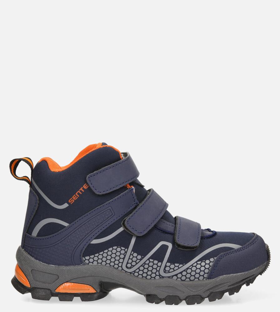 Granatowe buty trekkingowe na rzepy softshell Casu B1516B-2 model B1516B-2