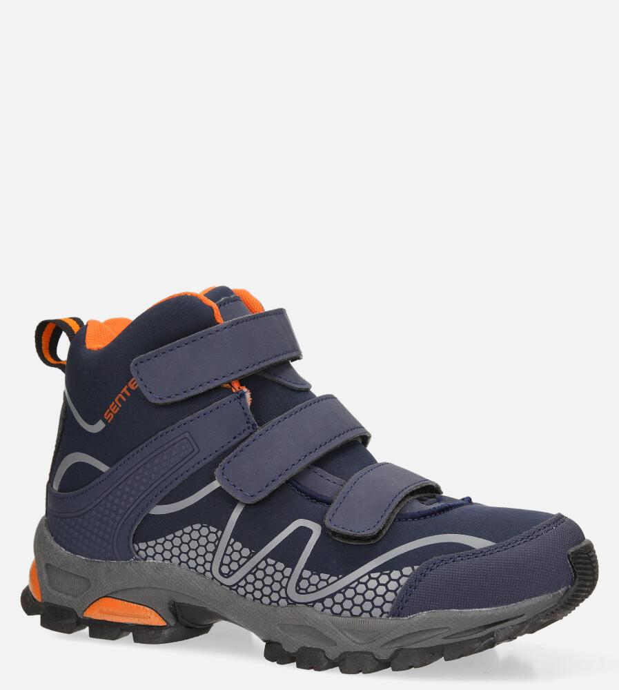 Granatowe buty trekkingowe na rzepy softshell Casu B1516B-2 sezon Całoroczny