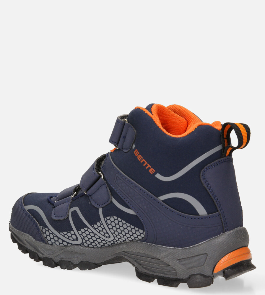 Granatowe buty trekkingowe na rzepy softshell Casu B1516B-2 kolor granatowy, pomarańczowy