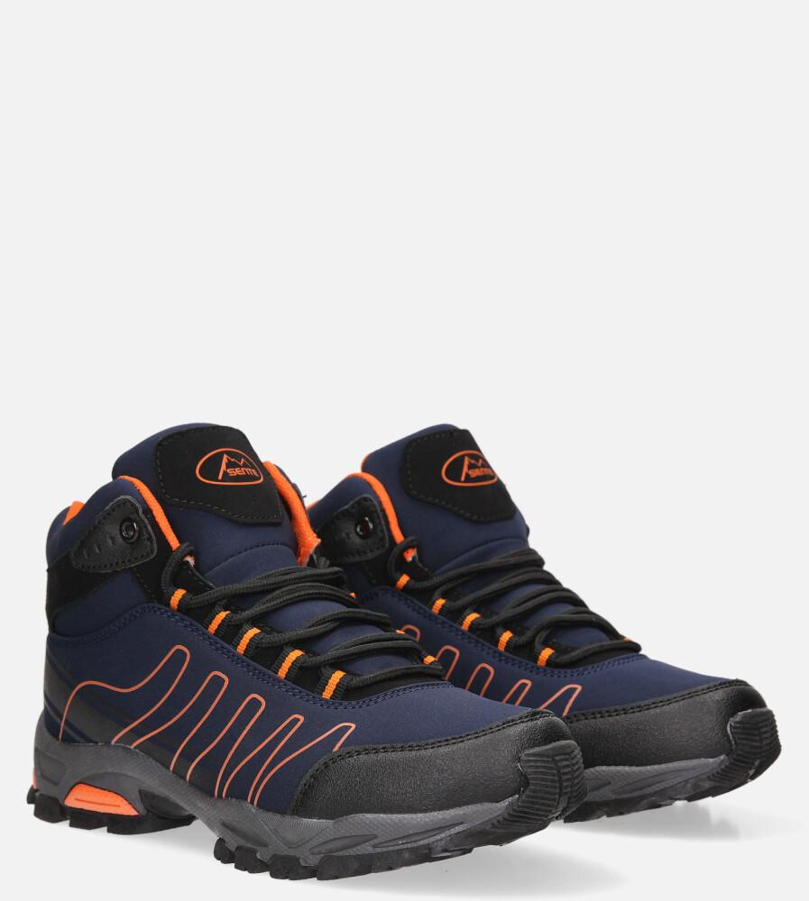 Granatowe buty trekkingowe sznurowane softshell Casu B1530-3 producent Casu