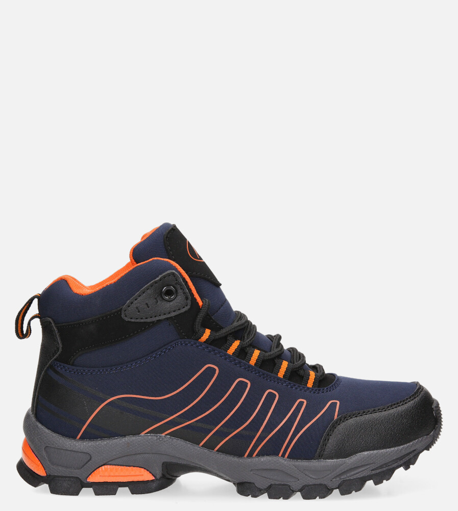 Granatowe buty trekkingowe sznurowane softshell Casu B1530-3