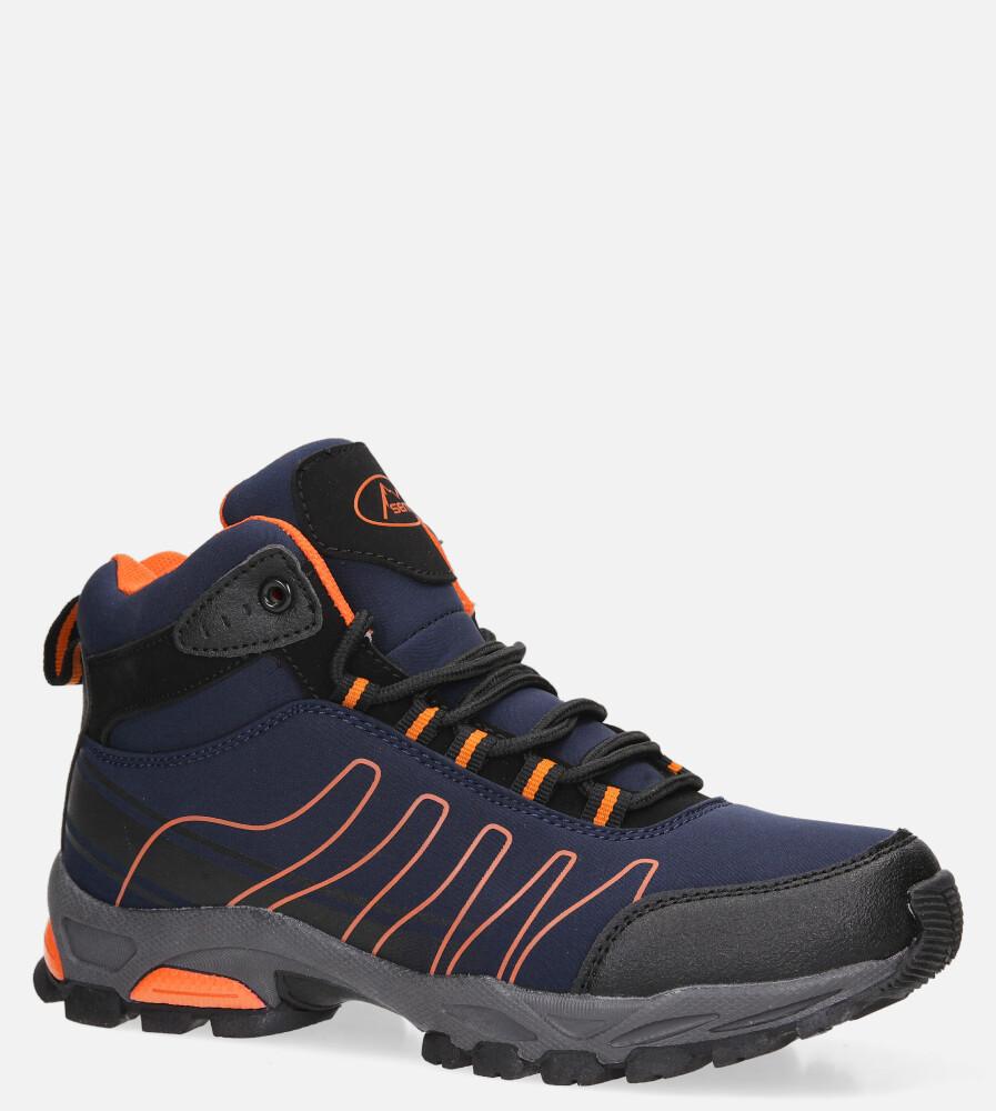 Granatowe buty trekkingowe sznurowane softshell Casu B1530-3 sezon Całoroczny