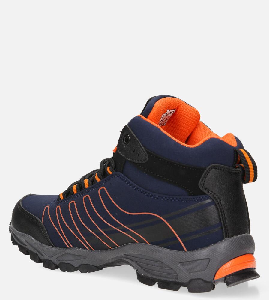 Granatowe buty trekkingowe sznurowane softshell Casu B1530-3 kolor granatowy, pomarańczowy