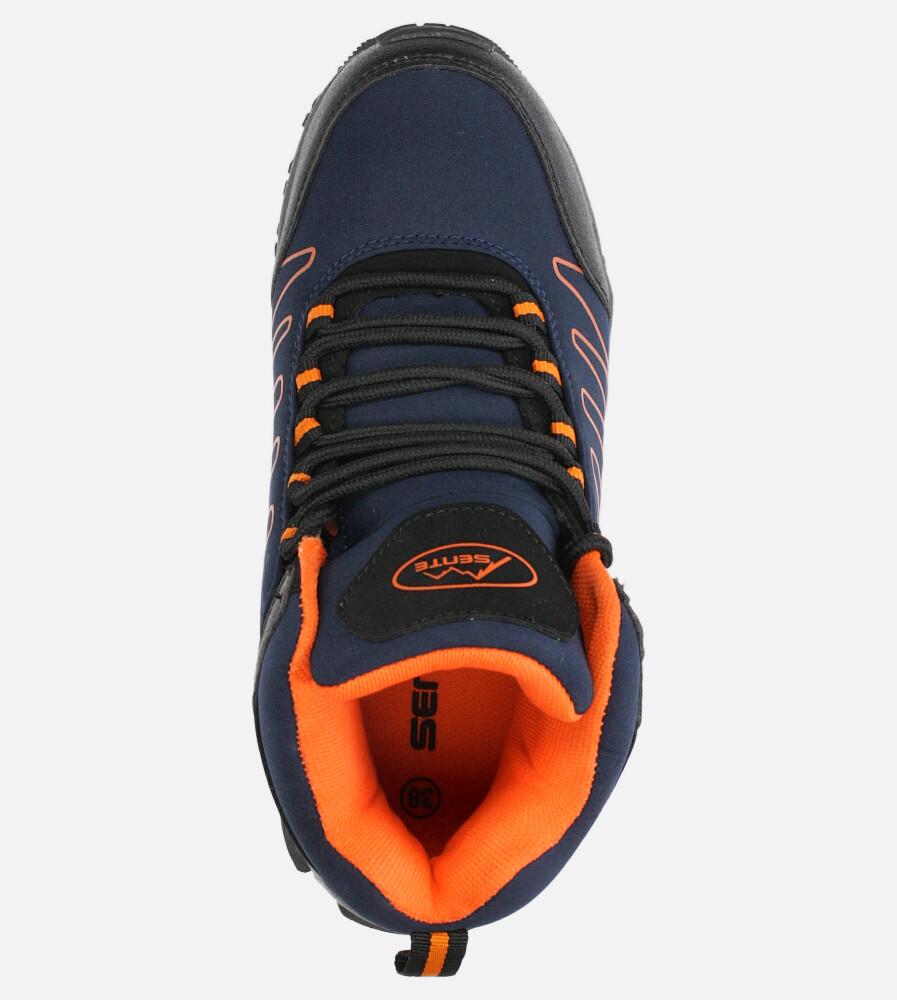 Granatowe buty trekkingowe sznurowane softshell Casu B1530-3 wysokosc_obcasa 3.5 cm
