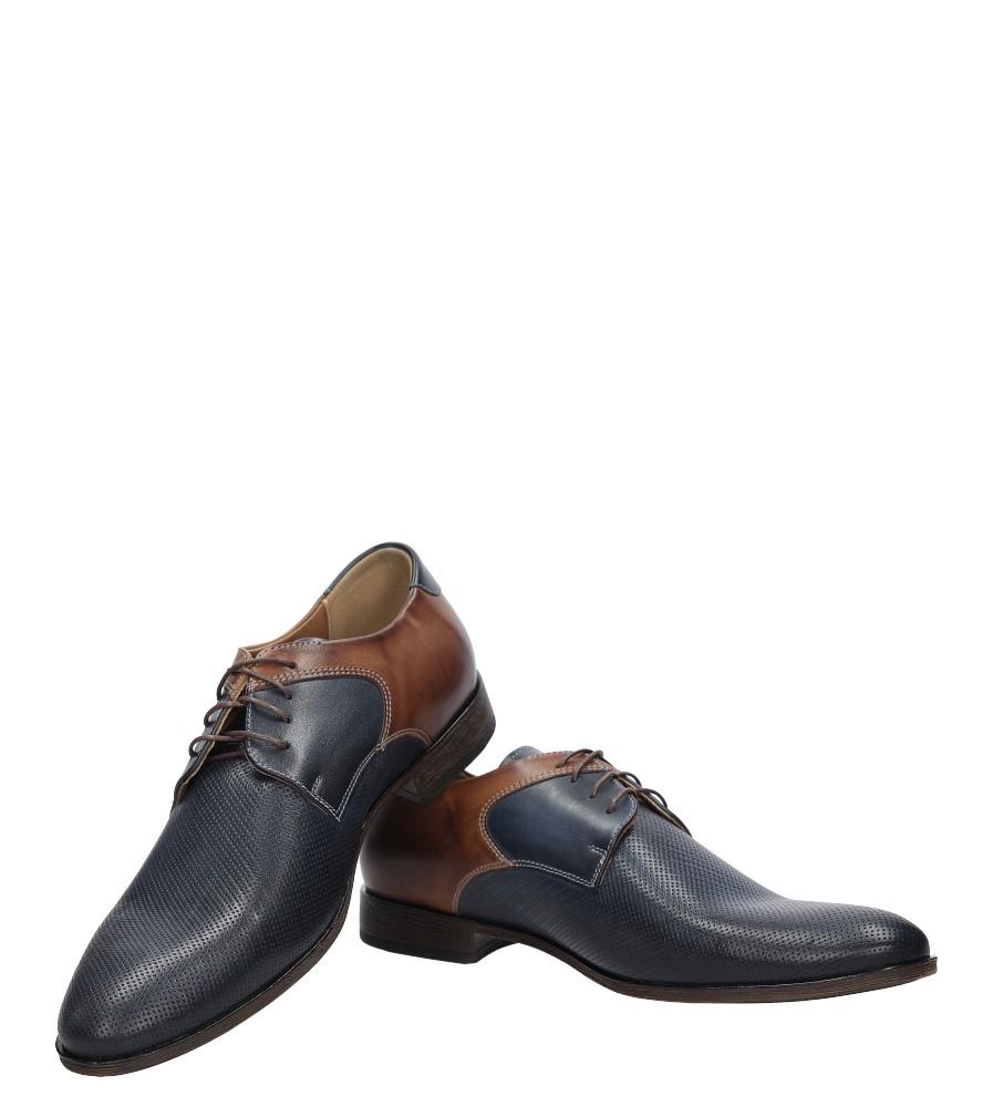Granatowe buty wizytowe skórzane sznurowane granat palony DUO MEN 00737E-03-L-P-010