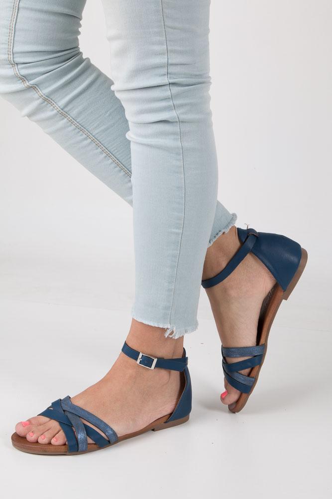 Granatowe eleganckie sandały z zakrytą piętą Casu K18X9/N