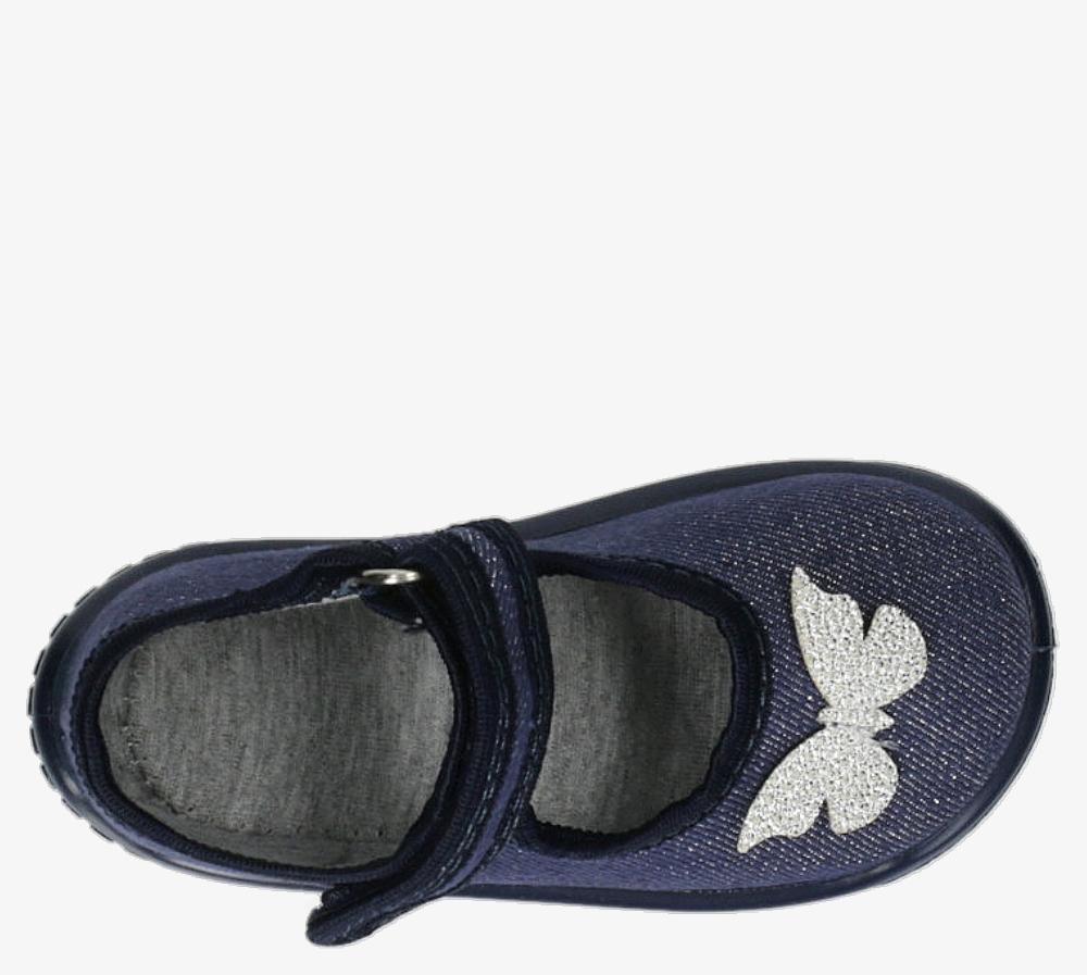 Granatowe kapcie z motylkiem na rzep Raweks KAJA19 granatowy