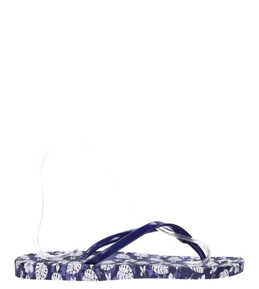 Granatowe klapki japonki basenowe w kwiatki Casu 2158-166