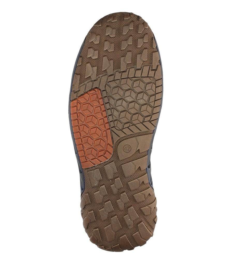 Granatowe półbuty skórzane sznurowane Casu JO-15/1067/908 wierzch skóra naturalna - licowa