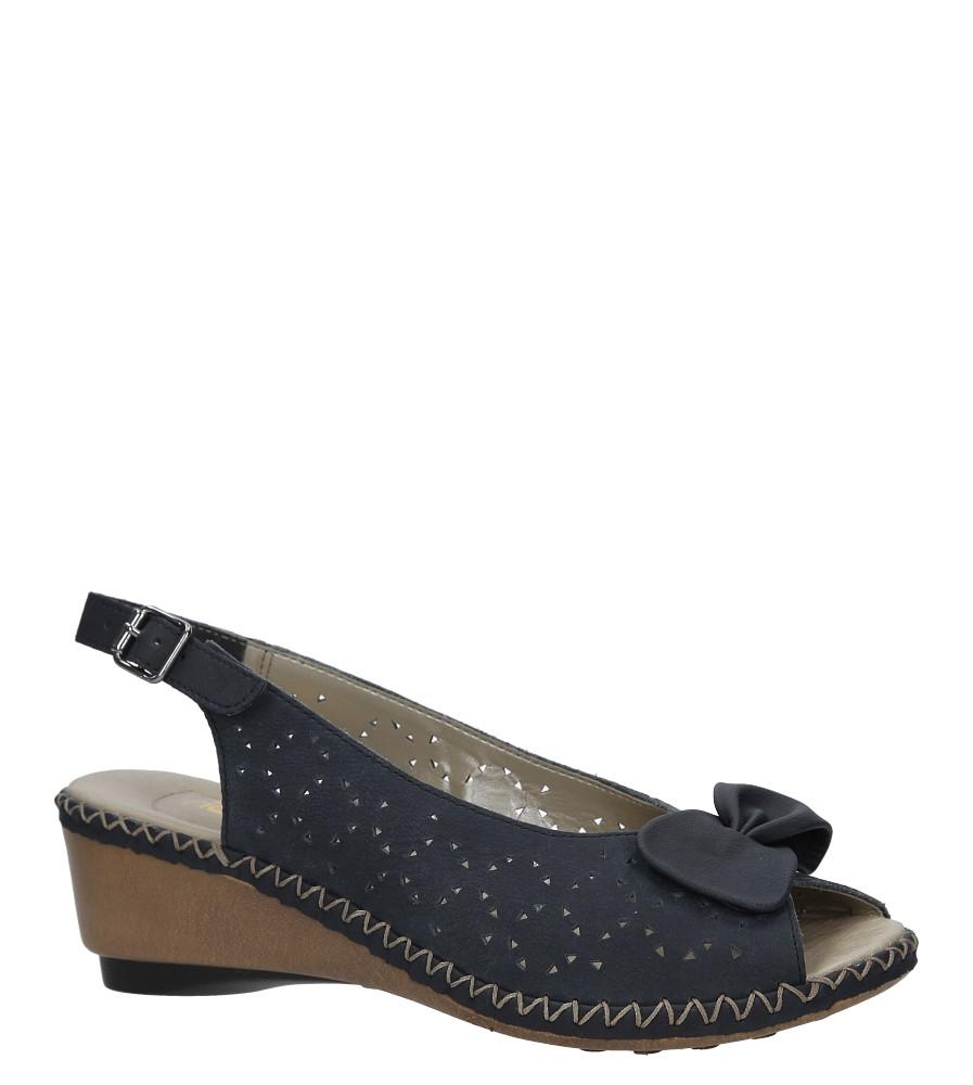 Granatowe sandały ażurowe na koturnie Rieker 66178-14
