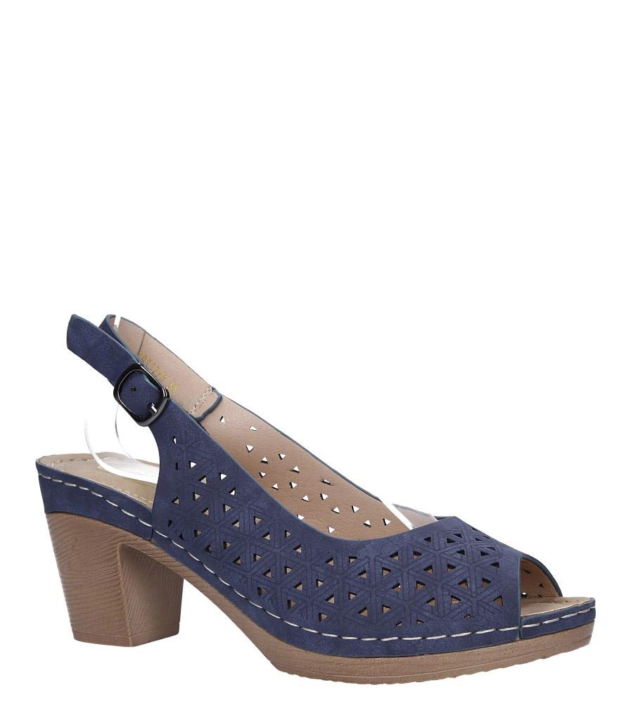 Granatowe sandały ażurowe na szerokim obcasie Casu W19X12/N