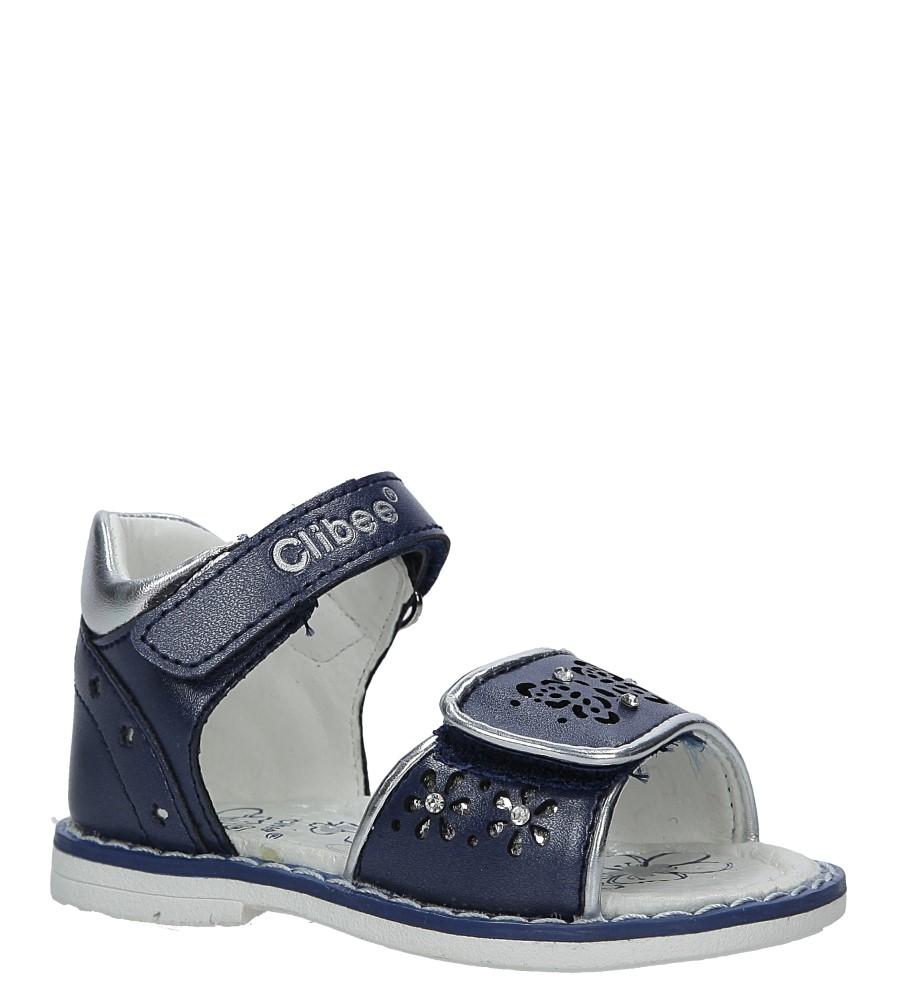 Granatowe sandały ażurowe z kryształkami na rzep Casu F-212