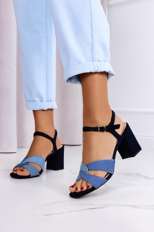 Granatowe sandały Casu na szerokim słupku ze skórzaną wkładką ER21X18/N