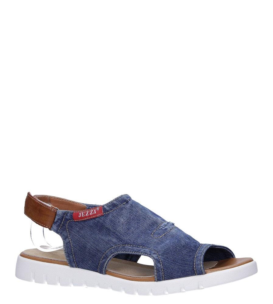 Granatowe sandały jeansowe na rzep ze skórzaną wkładką Jezzi RMR1842-2