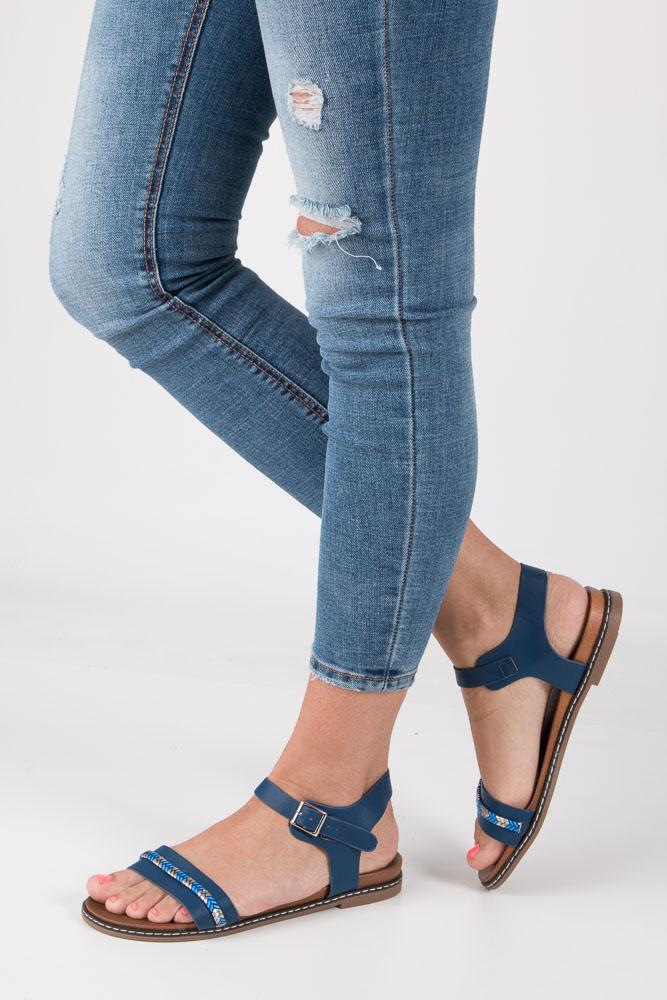 Granatowe sandały letnie z ozdobnym plecionym paskiem Casu K18X10/N