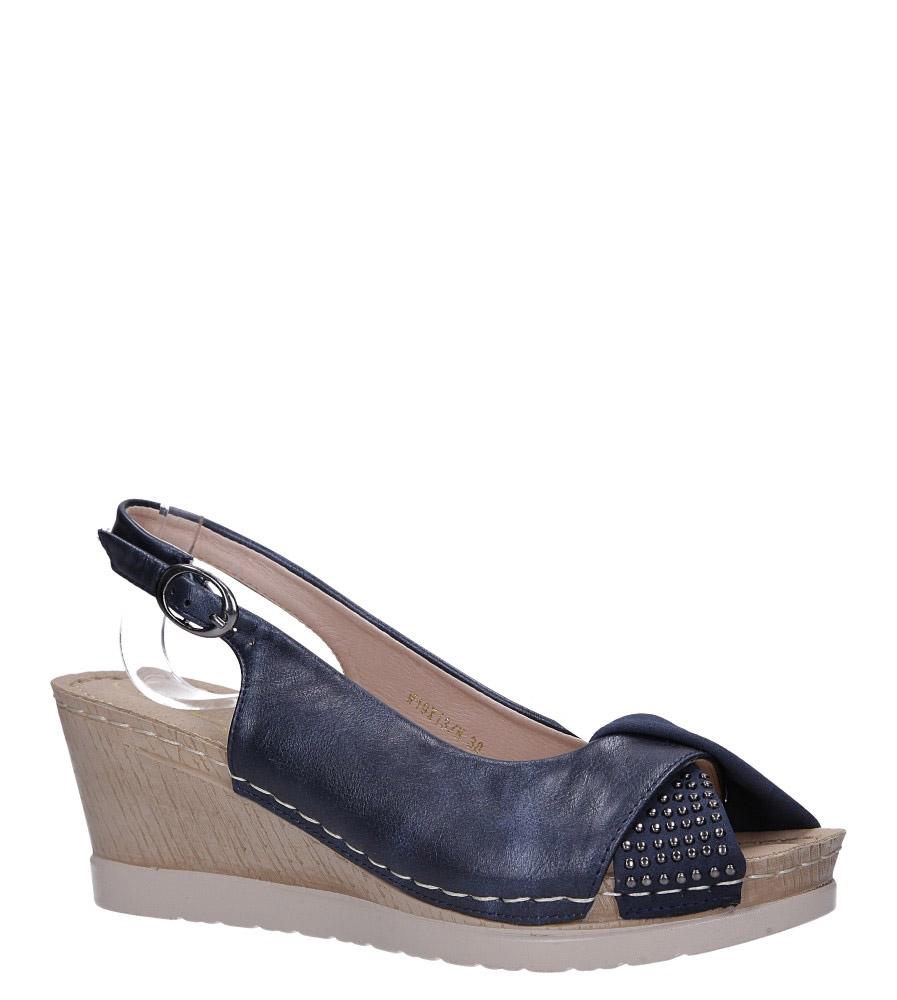 Granatowe sandały na koturnie Casu W19X13/N