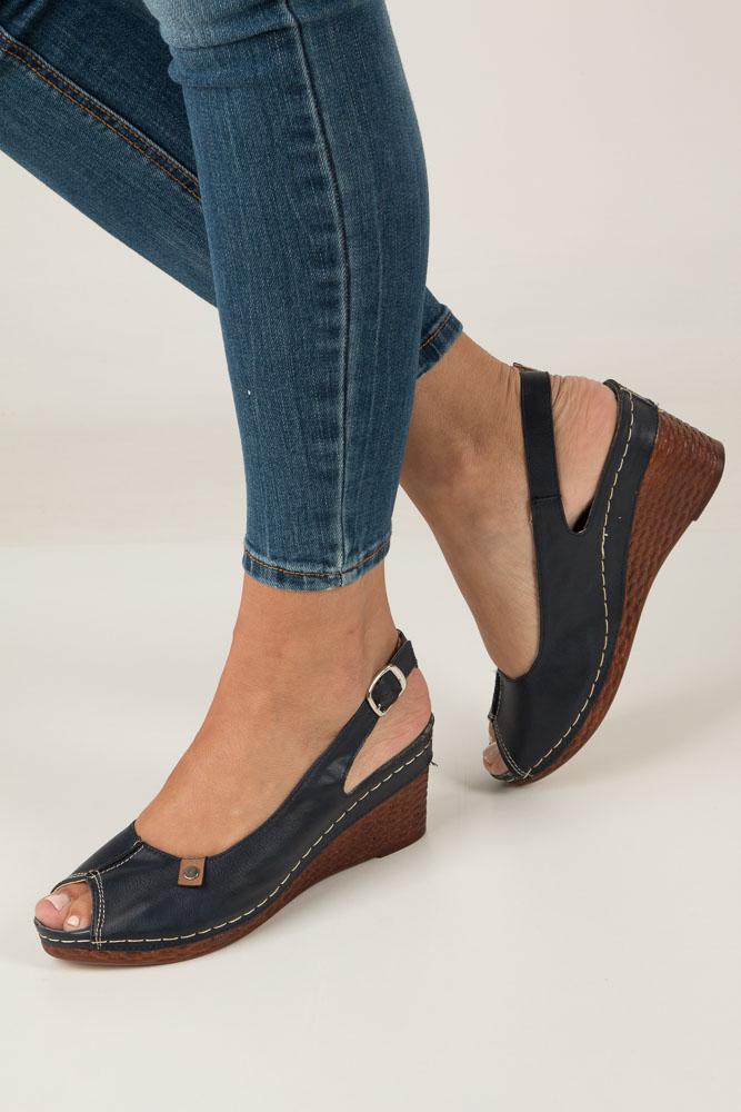 Granatowe sandały na koturnie Jezzi MR1732-2