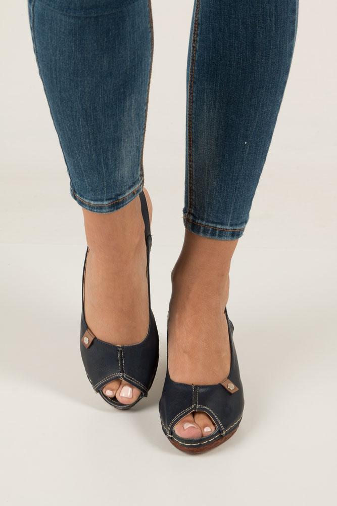 Granatowe sandały na koturnie Jezzi MR1732-2 wysokosc_platformy 2 cm