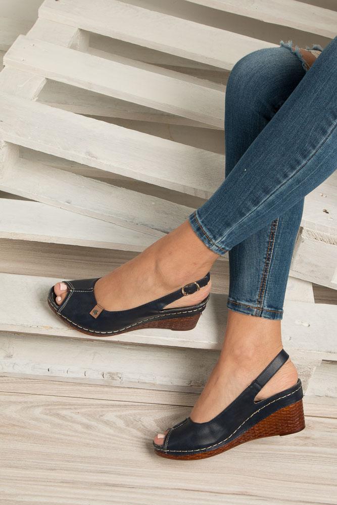 Granatowe sandały na koturnie Jezzi MR1732-2 wys_calkowita_buta 11 cm