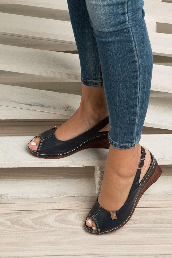 Granatowe sandały na koturnie Jezzi MR1732-2 wierzch skóra ekologiczna