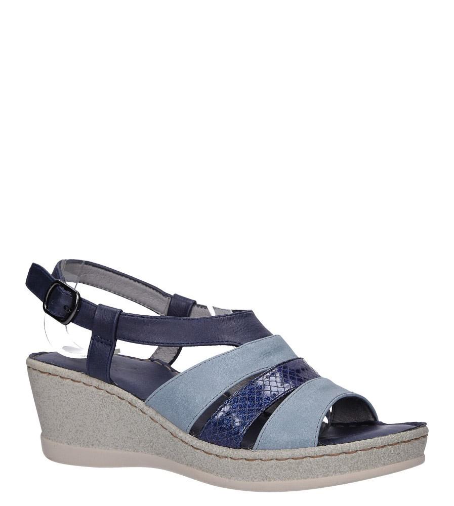 Granatowe sandały na koturnie z odkrytymi palcami Casu F19X2/N model F19X2/N