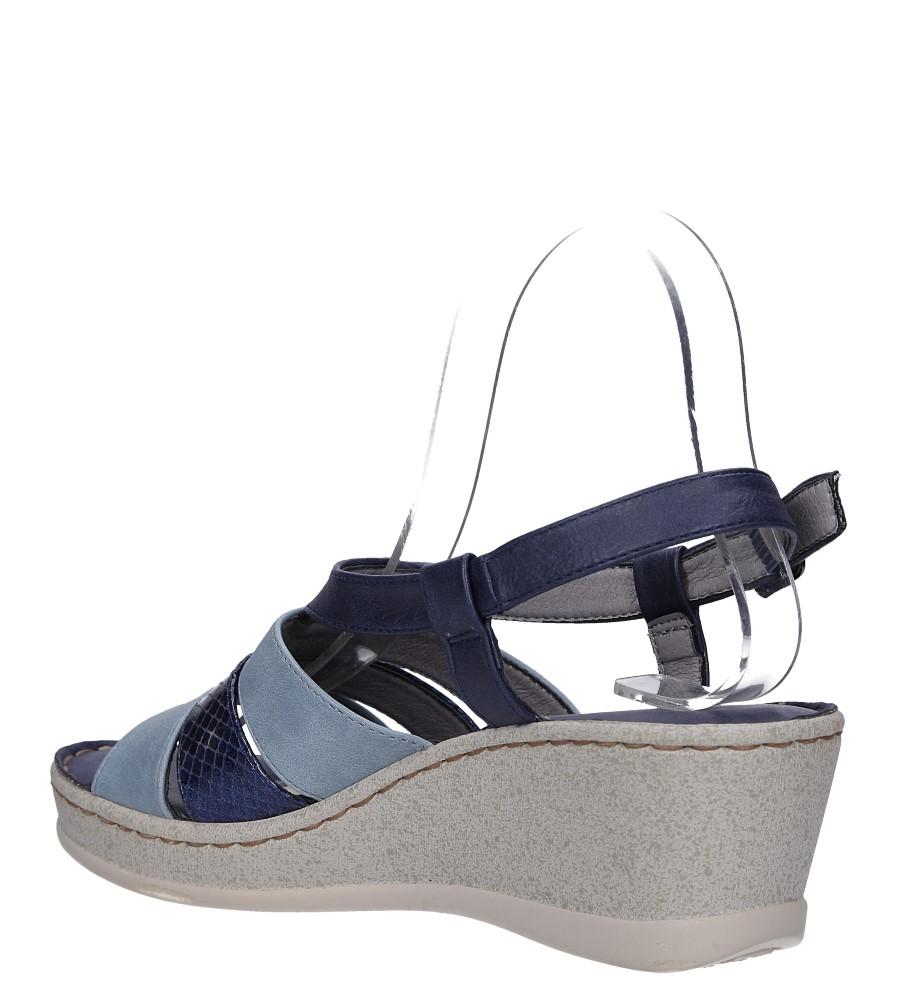 Granatowe sandały na koturnie z odkrytymi palcami Casu F19X2/N wys_calkowita_buta 11 cm