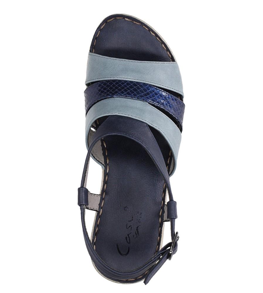 Granatowe sandały na koturnie z odkrytymi palcami Casu F19X2/N wierzch skóra ekologiczna