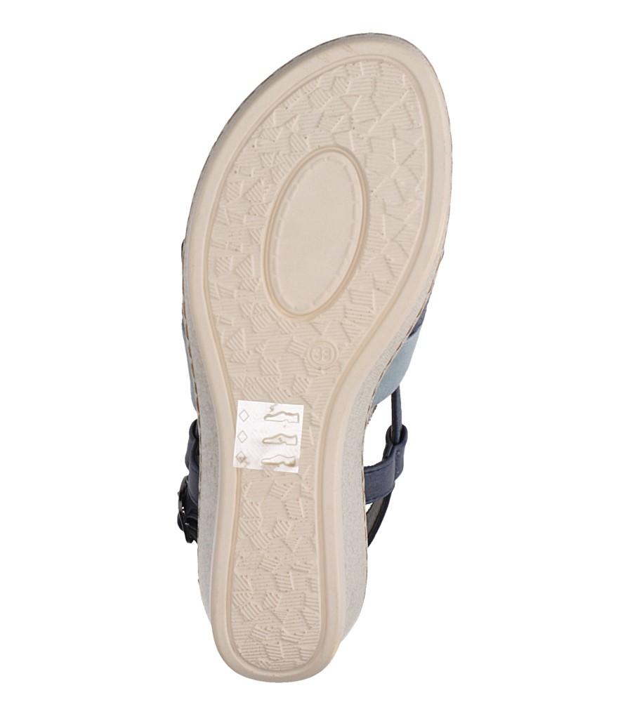 Granatowe sandały na koturnie z odkrytymi palcami Casu F19X2/N wnetrze skóra ekologiczna