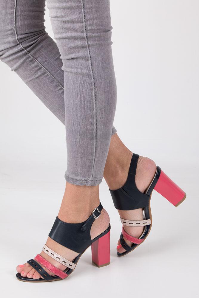 Granatowe sandały na obcasie Jezzi SA109-4