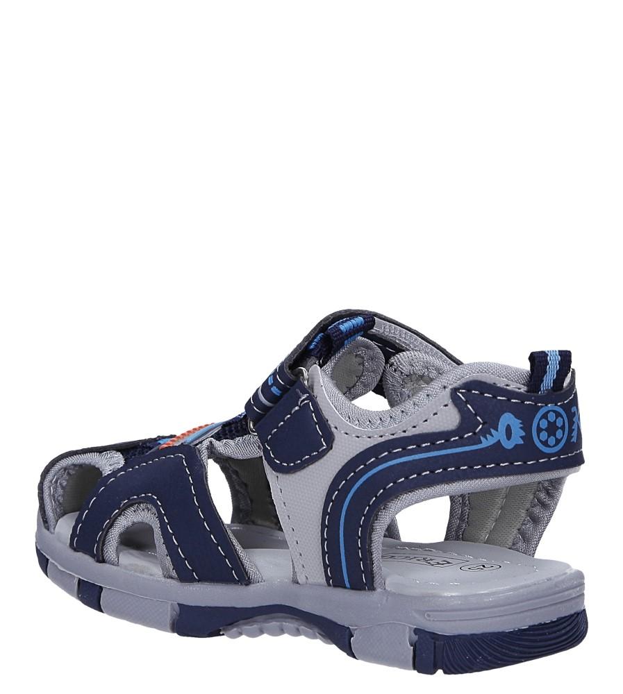 Granatowe sandały na rzep Casu 58009 sezon Lato