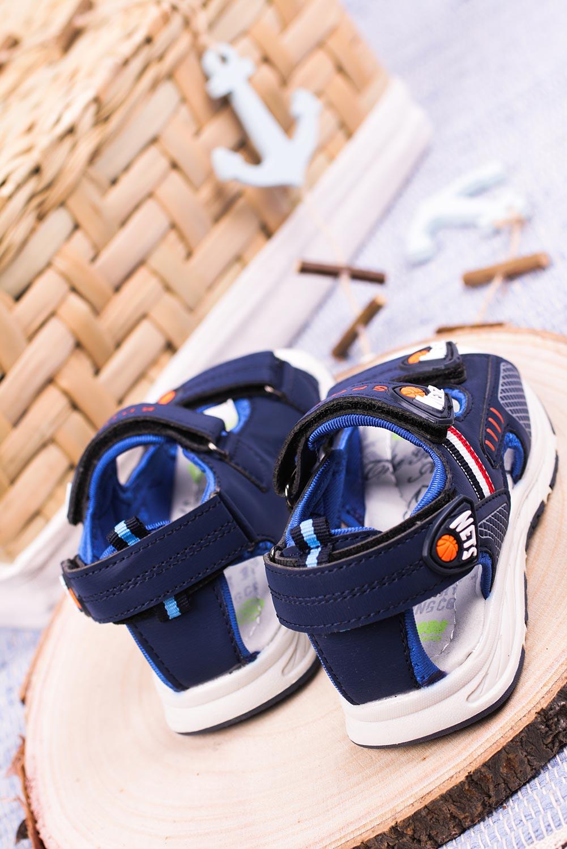 Granatowe sandały na rzepy Casu F05