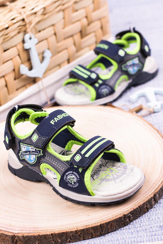 Granatowe sandały na rzepy Casu JF01 producent Casu