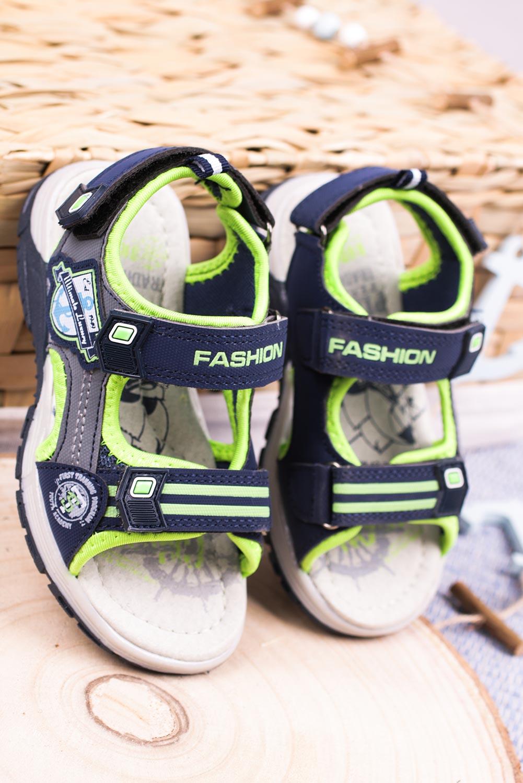 Granatowe sandały na rzepy Casu JF01 model JF01