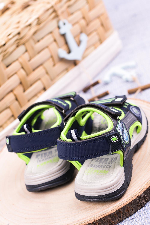Granatowe sandały na rzepy Casu JF01 sezon Lato