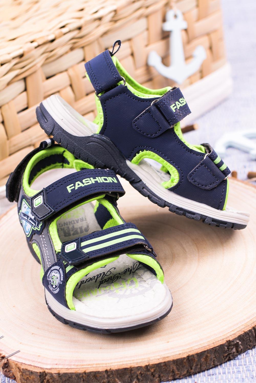 Granatowe sandały na rzepy Casu JF01 kolor granatowy