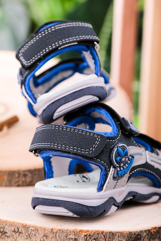 Granatowe sandały na rzepy Casu JF06