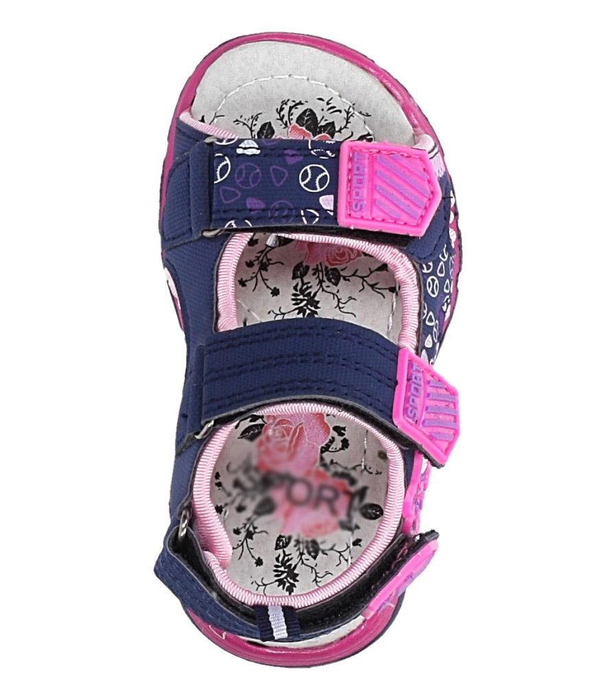 Granatowe sandały na rzepy Casu LA80 kolor granatowy, różowy