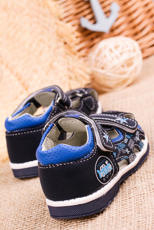 Granatowe sandały na rzepy Casu T17B producent Casu
