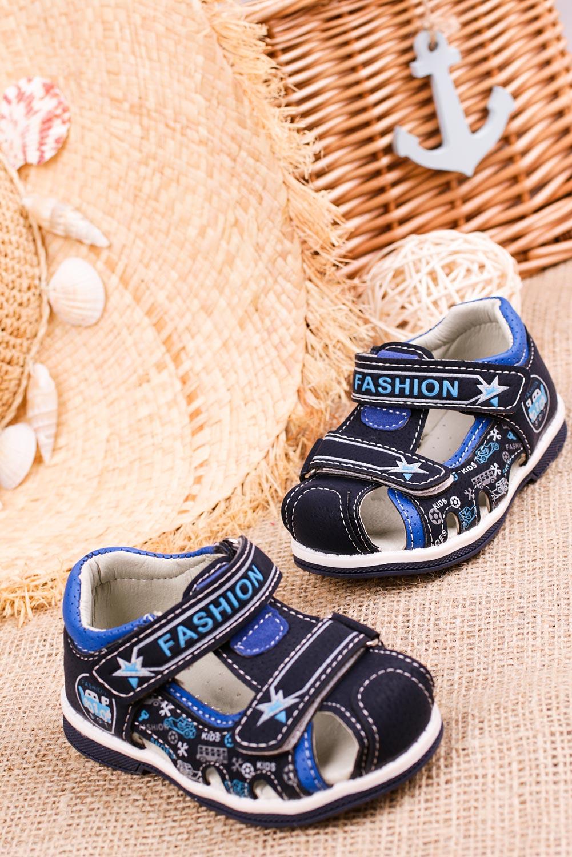 Granatowe sandały na rzepy Casu T17B model T17B