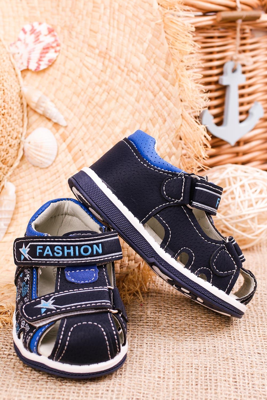 Granatowe sandały na rzepy Casu T17B sezon Lato
