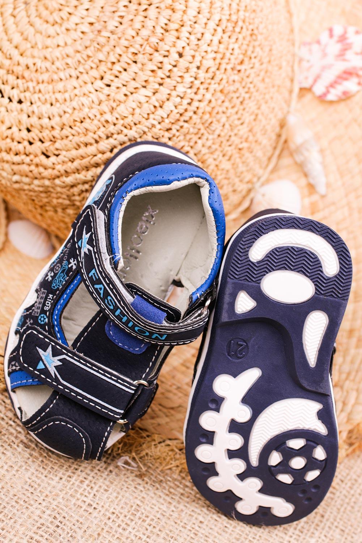 Granatowe sandały na rzepy Casu T17B wysokosc_obcasa 1.5 cm
